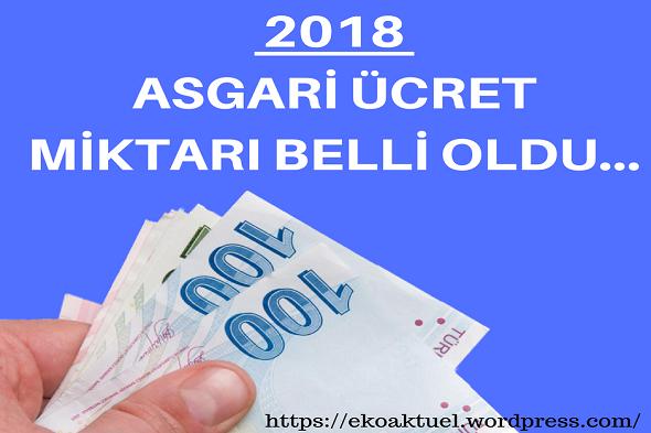 2018 Asgari Ücret Miktarı Belirlendi.